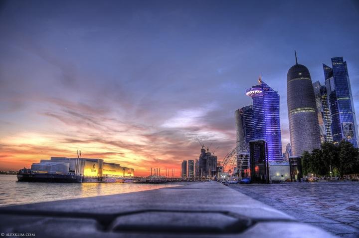 Sunset view at Doha Corniche